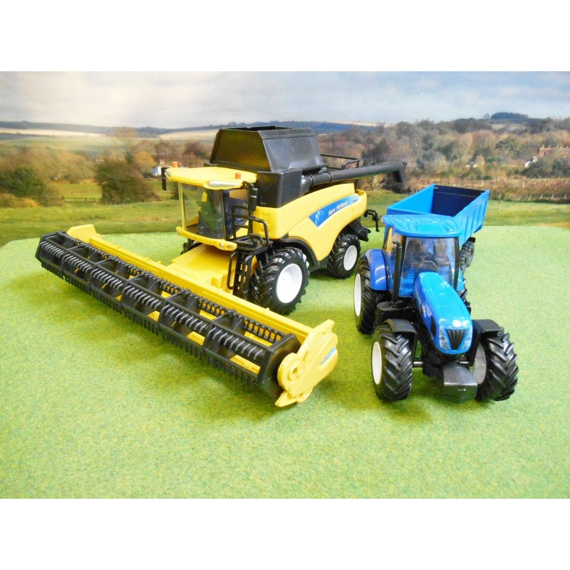 NEWRAY FARM 1:32 NEW HOLLAND CR9090 COMBINE T7.270 TRACTOR & TRAILER HARVEST SET